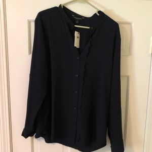 NWT navy blue button up